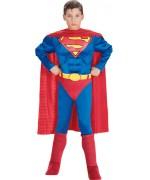 Déguisement de Superman musclé pour garçon avec combinaison, ceinture, cape et sur-bottes - DC Comics Costume