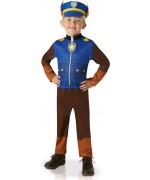 déguisement Pat Patrouille Chase pour enfant, combinaison imprimée et casquette de police avec oreilles