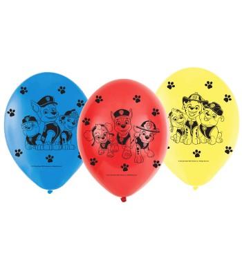 Lot de 6 ballons en latex Pat Patrouille
