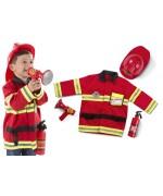 Costume de chef des pompiers de couleur rouge avec casque, mégaphone et extincteur