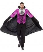 Déguisement de vampire pour homme, pantalon noir et haut de couleur violet avec jabot et cape