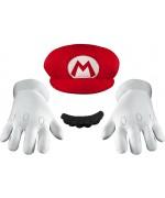 Kit d'accessoires déguisement de Mario pour adulte, gants, moustache et casquette