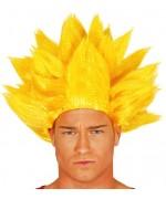 Perruque manga jaune pour homme avec sa coiffure en pics vous incarnerez un véritable super saiyan