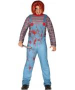 Déguisement de poupée tueuse pour homme, salopette avec t-shirt rayé incorporé