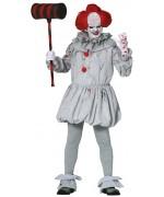Déguisement de clown tueur gris pour adulte avec tunique, collerette et sur-chaussures