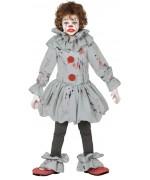 Déguisement de clown tueur pour enfant de 5 à 12 ans avec tunique, collerette et sur-chaussures