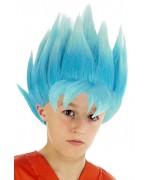 Perruque enfant Sangoku bleu Dragon Ball Z, transforme-toi en Super Saiyan Blue