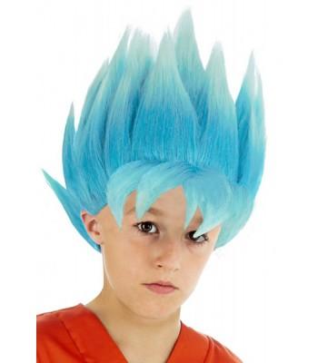 Perruque Goku bleu enfant