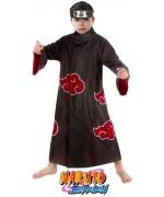 Déguisement de Itachi issu du manga Naruto Shippuden pour garçon avec tunique de l'akatsuki et bandeau Naruto konoha barré