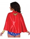 Cape de Wonder Woman en tissu satiné de couleur rouge, sous licence officielle DC Comics