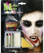 Maquillage vampire avec dentier et 4 couleurs - maquillage Halloween