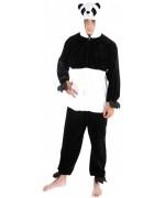 Déguisement de panda pour adulte, combinaison avec cagoule en matière effet peluche