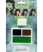 Kit de maquillage sorcière 3 couleurs avec éponge - maquillage halloween