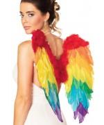 paire d'ailes arc en ciel en plumes idéale pour accessoiriser un déguisement d'oiseau ou d'animal fantastique