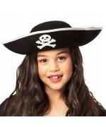 Chapeau de pirate pour enfant décoré d'une tête de mort (taille enfant)