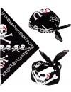 Bandana pirate noir avec tête de mort