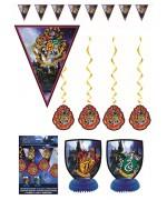 Kit de décoration anniversaire Harry Potter : 1 guirlande de fanions, 2 centre de table et 4 décorations à suspendre