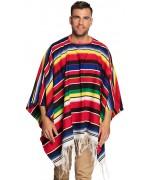 Poncho mexicain à rayures multicolores d'environ 140 x 155 cm