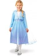Déguisement La reine des neiges 2 classique, robe d'Elsa avec cape sous licence officielle Disney