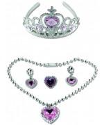 Panoplie de princesse avec couronne, collier, bague et boucles d'oreilles décorés de cœurs roses clair