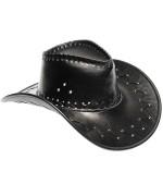 Chapeau de cowboy noir effet cuir idéal pour vos soirées Western ou Country