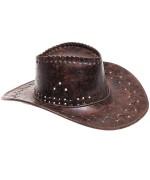 Chapeau de cowboy marron, son effet cuir vieilli lui apporte un rendu vintage idéal pour une soirée americaine