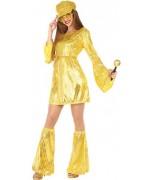 déguisement disco robe dorée à paillettes avec jambières - années 70