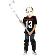 Déguisement de tueur pour garçon avec masque de hockey, t-shirt et jambières digne de Jason du film d'horreur Vendredi 13