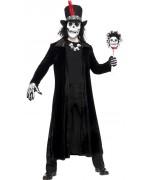 deguisement squelette homme vaudou, long manteau noir halloween