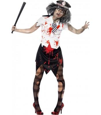 Déguisement zombie femme policier halloween
