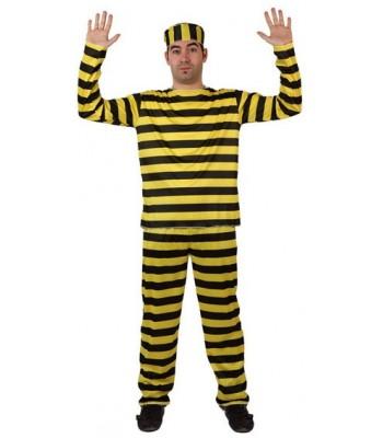 Déguisement prisonnier jaune et noir adulte