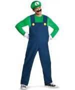 Déguisement de Luigi pour homme avec salopette, casquette, moustache, gants et ventre conflable - costume Nintendo