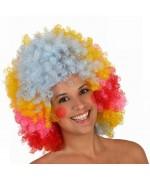 Perruque clown afro multicolore