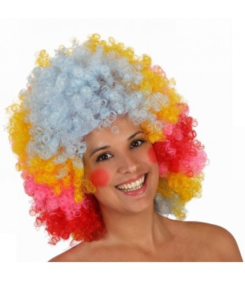 Perruque clown afro multicolore