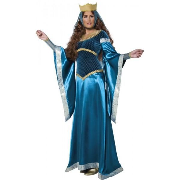 e893875a59b ... Longue robe médiévale de couleur bleue avec couronne pour femme - costumes  médiévaux ...