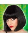 Perruque noire mi-longue avec frange