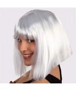 perruque blanche coupe carré avec frange - perruque pour femme
