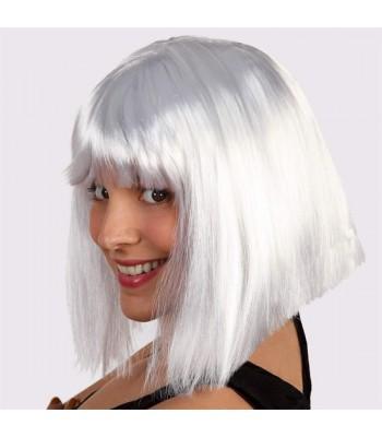 perruque blanche mi-longue avec frange