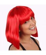 perruque rouge, cheveux mi-longs - accessoire deguisement disco