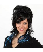 longue perruque noire et bleue pour femme - perruque moderne