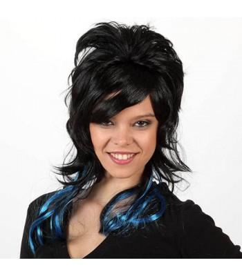 perruque longue noire et bleue