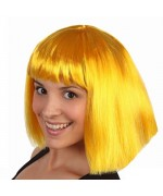 perruque jaune coupe courte avec frange - perruque disco