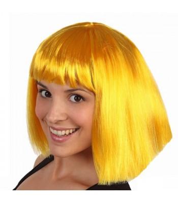 perruque jaune avec frange