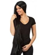 longue perruque noire pour adulte, cheveux extra longs