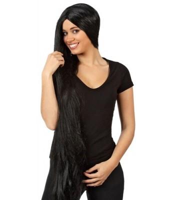 perruque noire extra longue