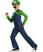 Déguisement Luigi enfant avec combinaison, casquette et moustache pour enfants de 4 à 12 ans