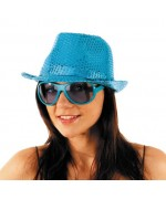 Borsalino disco bleu à paillettes - FA041A - accessoire deguisement disco