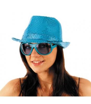 Borsalino disco bleu à paillettes