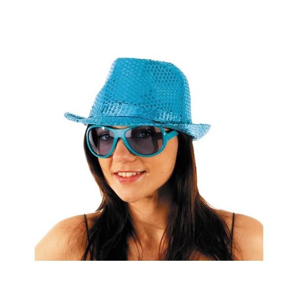 Borsalino disco bleu à paillettes , FA041A , accessoire deguisement disco