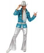 deguisement disco adulte bleu et argent - costume année 80